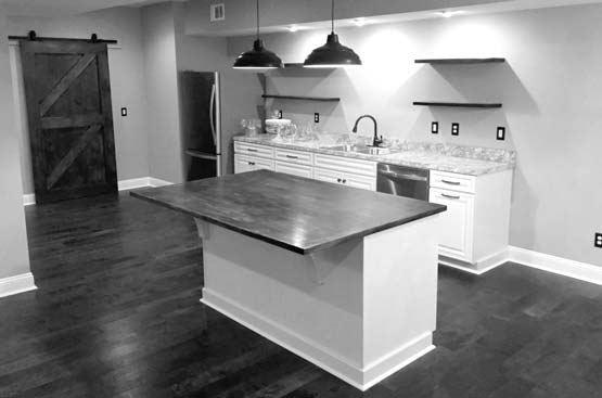 Gorgeous and modern basement kitchen addition constructin for an Athens home.